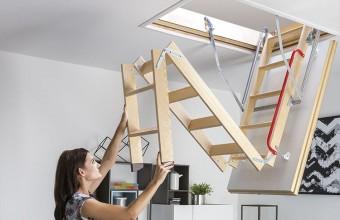 Scari modulare pliabile din lemn, pentru acces la pod